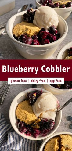 This easy paleo blueberry cobbler recipe is a delicious summer dessert made with fresh blueberries and topped with sweet grain free biscuits. It's incredibly easy to make, bursting with flavor and perfect for most diets (paleo, gluten free, dairy free, vegan and nut free). #cobbler #blueberrycobbler #paleodessert #vegandessert Nut Free, Grain Free, Dairy Free, Summer Dessert Recipes, Vegan Dessert Recipes, Eggless Recipes, Flour Recipes, Healthy Vegan Desserts, Paleo Vegan