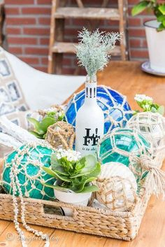 This project combines two of my favorite home decor trends: coastal beach style and boho macrame crafts. It was inspired by some high end home decor products but it was created using thrifted parts and some basic craft materials. This glass fishing floats have become part of my favorite decorative items in my home. Make your own with these instructions and enjoy them too.The base materials