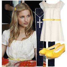 quinn fabray > sunday look > sunny flats, belt and hair clip > good girl clothes and brave make up