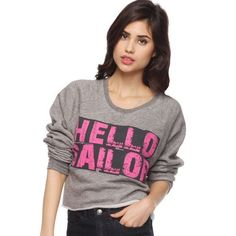 HELLO SAILOR SWEATER This cropped sweater is super is very cozy, perfect for the upcoming fall season . The fun graphic design adds an edge to this otherwise laid back top. Forever 21 Sweaters Crew & Scoop Necks