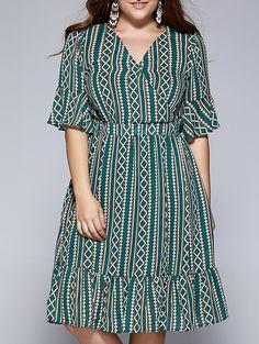 NEXTMIA - Plus Size Ethnic Tribal Pattern Flounced Dress