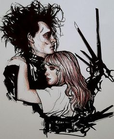- ̗̀ saith my he A rt ̖́- Tim Burton Art, Tim Burton Films, Edward Scissorhands Tattoo, Johnny Depp And Winona, Scissors Hand, Arte Disney, Gothic Art, Art Inspo, Cool Art