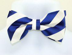 New Blue White Striped Mens Bow Tie Adjust Necktie Tuxedo Wedding Fashion Bowtie #TiesJustForYou #BowTie