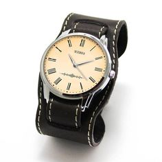 Insomia - Vintage style quartz automatic watch with handmade wide belt, design dial also by Pride&Bright team Leather Cuffs, Calf Leather, Brown Leather, Fine Watches, Cuff Watches, Leather Watch Bands, Stainless Steel Watch, Automatic Watch, Victorian Fashion