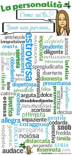 Aggettivi di personalità… Come sei tu? Talking about yourself and your personality in Italian. How many adjectives do you recognize? Via Optimae www.viaoptimae.com