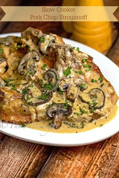 Slow Cooker Pork Chop Stroganoff :might be good for hotel living.