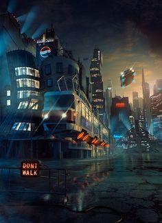 TECHNICALL - magazine cover by Tomas Muller, cyberpunk, future city, retro-futuristic, sci-fi art Cyberpunk City, Retro Futuristic, Cities, Sci Fi Movies, Fantasy Landscape, Future City, Space Travel, Sci Fi Art, Installation Art