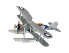 The Corgi Fairey Swordfish MkI L2742 810 NAS HMS Courageous 1937 (Floats) is a diecast model plane in the Corgi Aviation Archive Aircraft range. The Swordfish was equally at home on wheels or floats which were easily interchanged, even on the flight deck of a warship. When operated with floats the aircraft would be recovered after flight by use of a flight deck crane. When operated from capital ships the catapult was used for launching and recovery was again by means of the ship's crane.