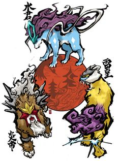 Okami versions of the Legendary Dog Pokemon....hell yeah! <3