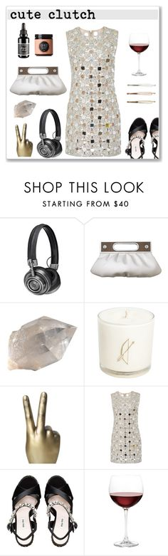 """""""#clutches"""" by hellodollface ❤ liked on Polyvore featuring Master & Dynamic, Interior Illusions Plus, KaufmanFranco, Miu Miu, Moon Juice, Nordstrom and clutches"""