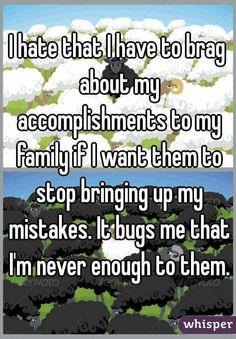 I hate that I have to brag about my accomplishments to my family if I want them to stop bringing up my mistakes. It bugs me that I'm never enough to them.