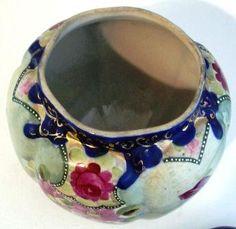 Image detail for -Cobalt Hand Painted Porcelain Cookie Biscuit Jar Roses Gold Trim ...