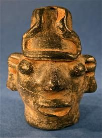 Artifact Terracotta Clay Folk Human Head Blowing Whistle