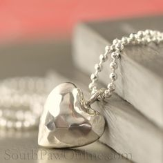 Sterling Silver heart necklace with chain, Hammered finish