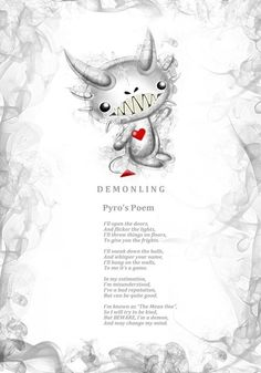 Pyro Demonling's poem. Every Frightlings character comes with it's own spooky poem.