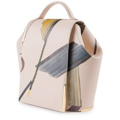 """Flap cover bag """"Observatorio"""" in beige calf leather with brass light gold plated logo hardware designed by Helena Rohner. ONESIXONE"""