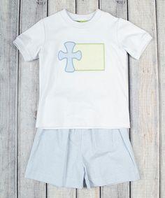 White Cross Tee & Blue Shorts - Infant, Toddler & Boys #zulily #zulilyfinds