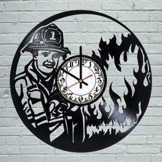 Fireman Vinyl Record Wall Clock Cool design - VINYL CLOCKS