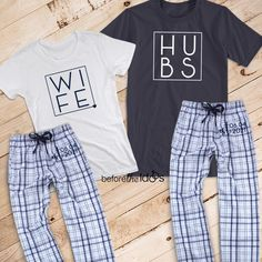 518dd3b882255 Wife and Hubs with Est. Date on Pant Couple s Pajama Set