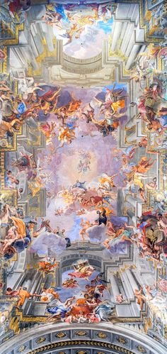 Art Apotheosis of St Ignatius Andrea Pozzo ceiling fresco 1688-94