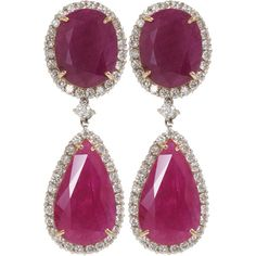 Jack Vartanian Double Drop Ruby Earrings (39,250 CAD) ❤ liked on Polyvore featuring jewelry, earrings, accessories, brincos, jewels, clothing & accessories, women, 18 karat gold jewelry, hinged earrings and jack vartanian earrings
