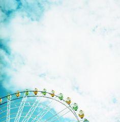 Under the blue sky.
