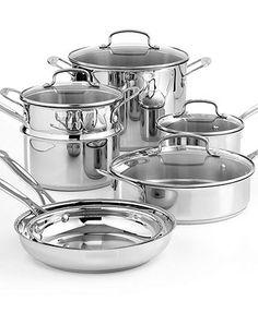 Cuisinart Chef's Classic Stainless Steel 11 Piece Cookware Set w bonus stock pot - Macy's $159.99