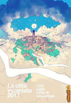 """Lorenzo Ceccotti (LRNZ) per il nuovo manifesto della """"Civita incantata"""" di Bagnoregio - http://www.afnews.info/wordpress/2017/01/27/lorenzo-ceccotti-lrnz-per-il-nuovo-manifesto-della-civita-incantata-di-bagnoregio/"""