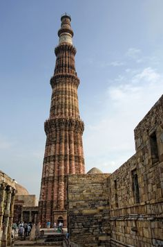 Qutub Minar (UNESCO World Heritage), Delhi, India. One of the tourist attraction in Golden Triangle Tours. Goa India, North India, Delhi India, Places Around The World, Travel Around The World, Around The Worlds, Tourist Places, Places To Travel, Cool Places To Visit