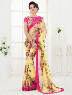 Yellow Bemberg Printed Saree