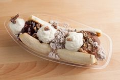 New favorite dish added by Contributing Chef Randy Evans. The Cloud 10 Banana Split from Cloud 10 Creamery. Old School Desserts, Just Desserts, Ice Cream Parlor, Cream Pie, Baked Alaska, Best Ice Cream, Classic Desserts, Banana Cream, Banana Split