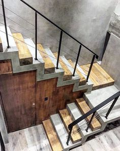 Concrete, wood and glass. What else may be needed to create an almost perfect and . Stair Railing Design, Home Stairs Design, Interior Stairs, Home Room Design, Modern House Design, Stairs Architecture, Architecture Details, Modern Architecture, Concrete Staircase