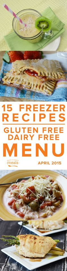 Gluten Free Dairy Free April 2015 Menu | Once a Month Meals | OAMC | Freezer Meals | Freezer Cooking | Custom Menus | Menu Planning