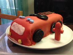 Marzipan fire truck cake