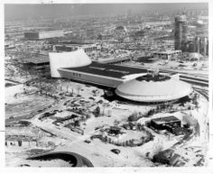 Construction at the 1964/65 New York World's Fair - General Motors Pavilion in winter.
