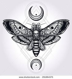 Tatto Ideas 2017 Deaths head hawk moth with moons geometry lines Design tattoo art Isolated vector illustration Trendy Vintage element Dark romance philosophy spirituality occultism alchemy death magic Shutterstock