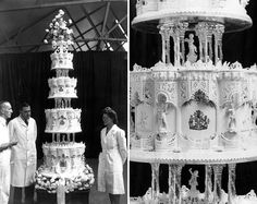 Queen (then Princess) Elizabeth and Philip Mountbatten's wedding cake 1947. 9-feet tall, cathedral-like carvings, tiny figures, lavish columns, and royal insignias.