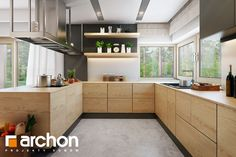 Dom pod jarząbem 17 (N) House Design, Indoor Design, Interior, Kitchen Cabinets, Interior Design Kitchen, Home Decor, Kitchen Dining, Kitchens Bathrooms, Kitchen Design