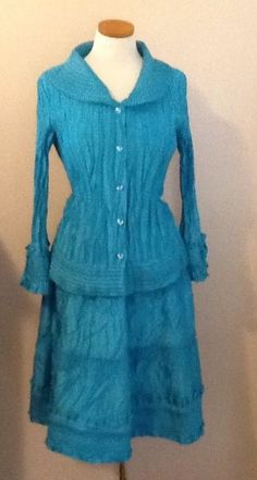 Turquoise SteamPunk Renaissance  Style GENERAL APPAREL 2 PC Skirt Set Size 8 #GeneralApparel #Tiered