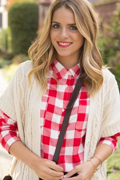 Old Navy red checker button up and Old Navy cardigan. Shop the look at www.oldnavy.com