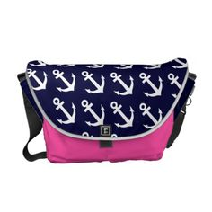 Nautical theme diaper bag with anchor pattern