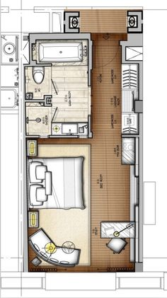 Over 100 small studio apartment layout design ideas - paguponhome - Master Bedroom Plans, Small Master Bedroom, Bedroom Floor Plans, Bathroom Plans, Master Bedrooms, Master Suite, Hotel Room Design, Small Room Design, Design Bedroom