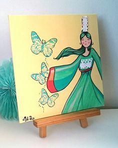 tableau_peinture_bretonne_graphique_bigoudene_butterfly_jaune_turquoise_rouge