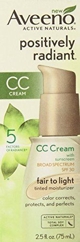 Aveeno Positively Radiant CC Cream, Fair to Light Moisturizer, 2.5 Oz (Pack of 2) -- Click image for more details.