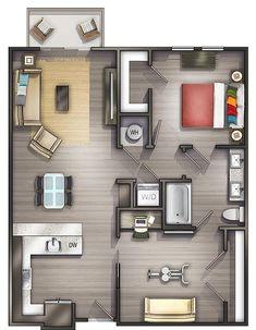 Apartment Studio Layout Floor Plans Bath 57 Ideas For 2019 Studio Apartment Floor Plans, Studio Apartment Layout, Studio Layout, Apartment Plans, Apartment Design, Luxury Homes Interior, Luxury Home Decor, Small House Plans, House Floor Plans