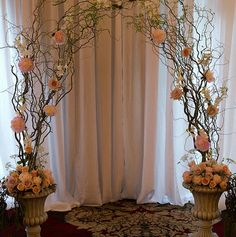 Curly willow arch with light pink flowers in urn