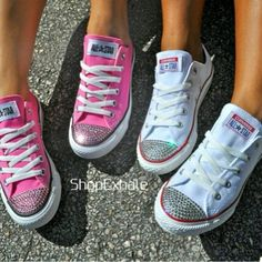 Pink and white bling converse. So blinging out my chucks! Bedazzled Shoes, Bling Shoes, Glitter Shoes, Prom Shoes, Bling Bling, Women's Shoes, Sparkly Converse, Outfits With Converse, Converse Sneakers