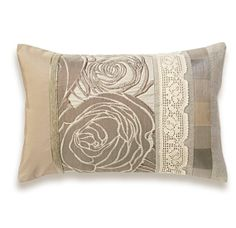 Ivory Cream Beige Tan Roses Lumbar Pillow Case by DelindaBoutique