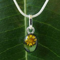 A beautiful miniature sunflower is specially preserved within resin on this pendant to keep its natural color and fresh look. Handcrafted of sterling silver, this piece of jewelry hangs from a silverplated snake chain.