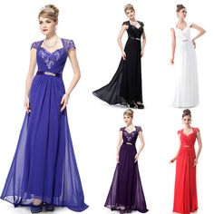 Ever Pretty Sexy V Neck Lace Cap Sleeve Long Formal Evening Wedding Dress 09867